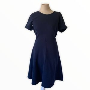 J Crew navy blue fit to flare dress